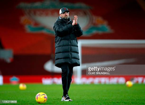 Liverpool's German manager Jurgen Klopp applauds the supporters after the English Premier League football match between Liverpool and West Bromwich...