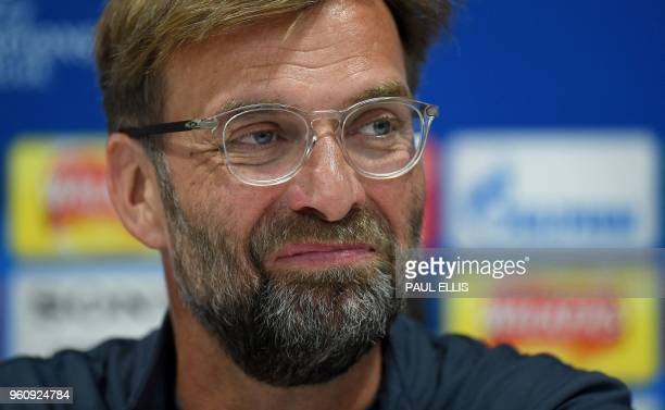 Liverpool's German manager Jurgen Klopp attends a press conference during a media day at Anfield stadium in Liverpool north west England on May 21...