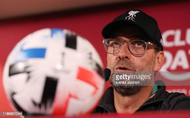 Liverpool's German manager Jurgen Klopp attends a press conference at the Khalifa International Stadium in the Qatari capital Doha on December 20...