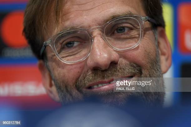 Liverpool's German manager Jurgen Klopp attends a press conference at Anfield stadium in Liverpool, north west England, on April 23, 2018 on the eve...