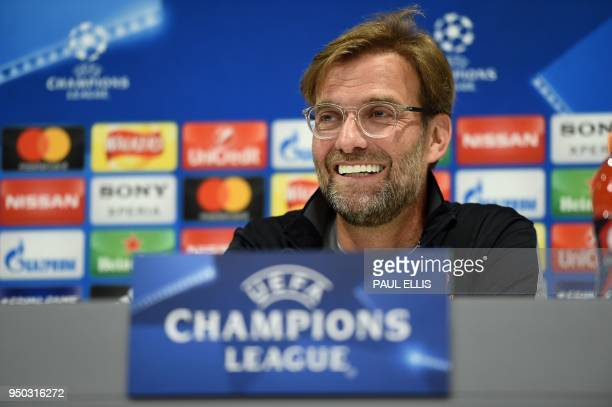 Liverpool's German manager Jurgen Klopp attends a press conference at Anfield stadium in Liverpool north west England on April 23 2018 on the eve of...