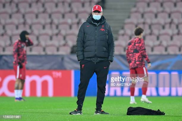 Liverpool's German manager Jurgen Klopp attends the warm up prior to the UEFA Champions League Group D football match FC Midtjylland v Liverpool FC...