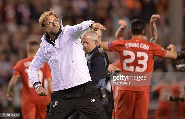 Liverpool's German manager Jurgen Klopp celebrates at the final whistle after a 30 victory during the UEFA Europa League semifinal second leg...