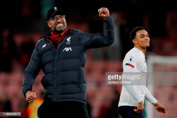 Liverpool's German manager Jurgen Klopp celebrates their victory during the English Premier League football match between Bournemouth and Liverpool...