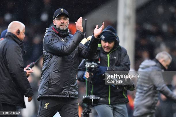 Liverpool's German manager Jurgen Klopp gesture after the English Premier League football match between Fulham and Liverpool at Craven Cottage in...