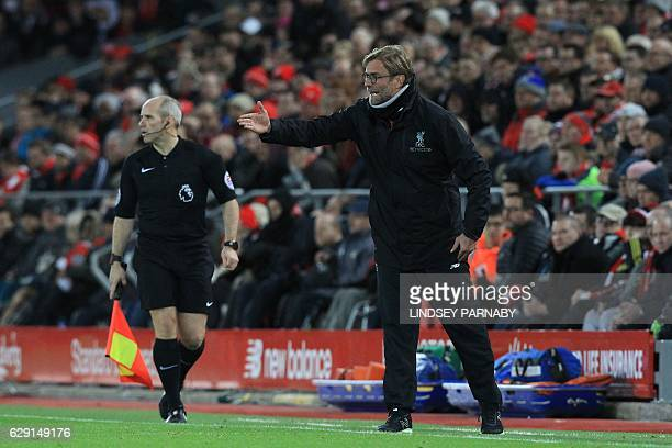 Liverpool's German manager Jurgen Klopp gestures from the touchline during the English Premier League football match between Liverpool and West Ham...