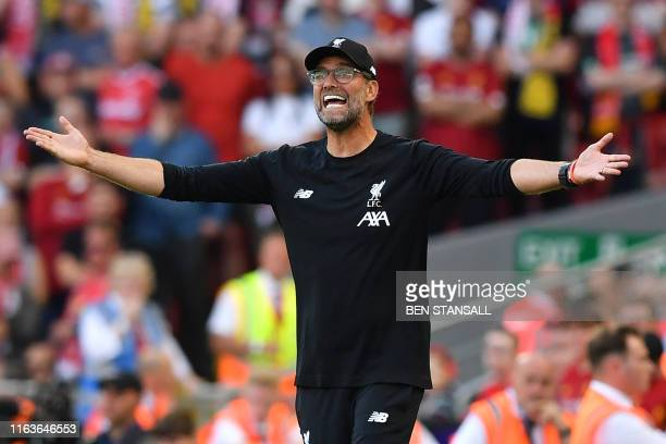Liverpool's German manager Jurgen Klopp gestures on the touchline during the English Premier League football match between Liverpool and Arsenal at...