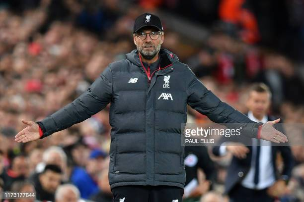 Liverpool's German manager Jurgen Klopp gestures on the touchline during the UEFA Champions league Group E football match between Liverpool and...