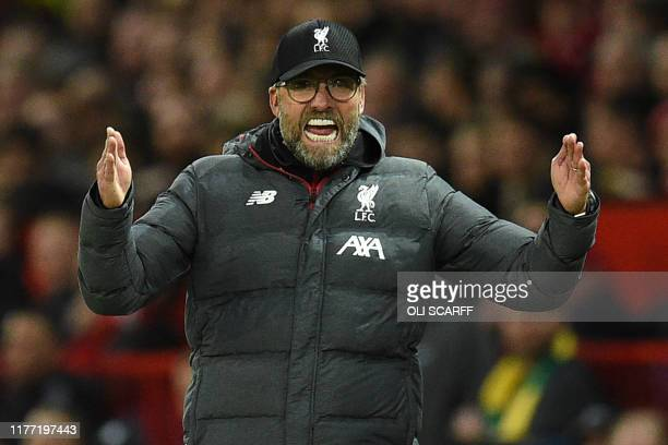 Liverpool's German manager Jurgen Klopp gestures on the touchline during the English Premier League football match between Manchester United and...