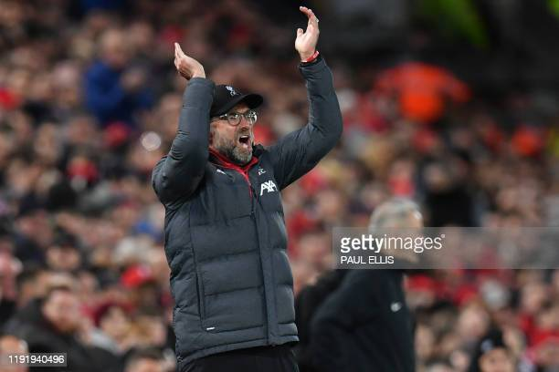 Liverpool's German manager Jurgen Klopp gestures on the touchline during the English FA Cup third round football match between Liverpool and Everton...