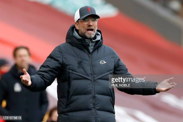 Liverpool's German manager Jurgen Klopp gestures on the touchline during the English Premier League football match between Liverpool and Fulham at...