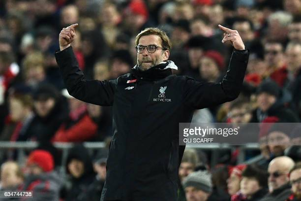 Liverpool's German manager Jurgen Klopp gestures on the touchline during the English Premier League football match between Liverpool and Tottenham...