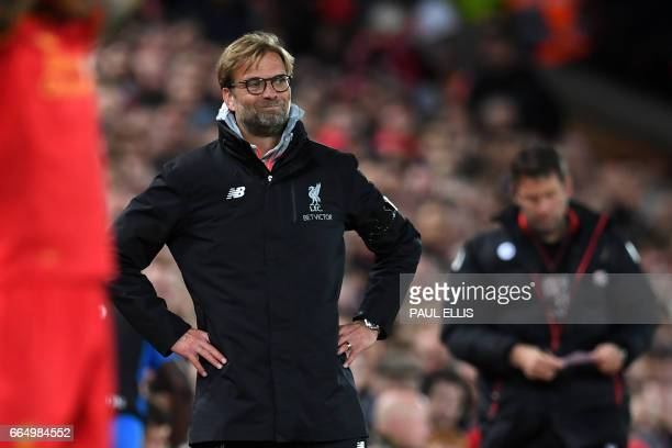 Liverpool's German manager Jurgen Klopp gestures on the touchline during the English Premier League football match between Liverpool and Bournemouth...