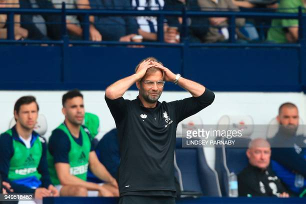 Liverpool's German manager Jurgen Klopp gestures on the touchline during the English Premier League football match between West Bromwich Albion and...