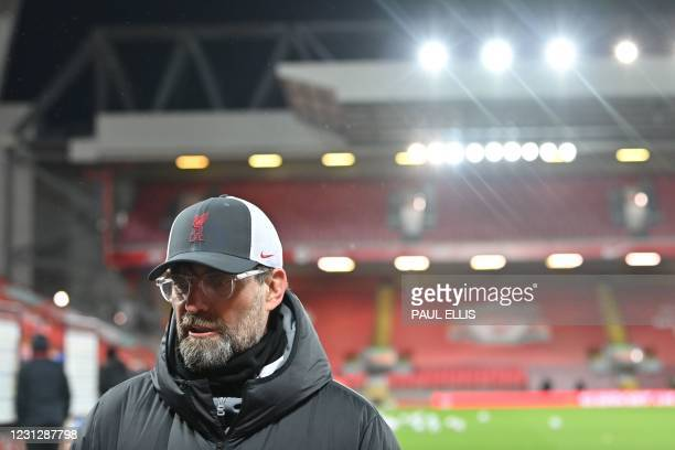 Liverpool's German manager Jurgen Klopp gives a post-match intervies after the English Premier League football match between Liverpool and Everton at...