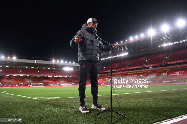 Liverpool's German manager Jurgen Klopp gives an interview after the English Premier League football match between Liverpool and Leicester City at...