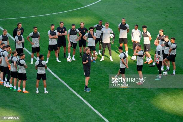 Liverpool's German manager Jurgen Klopp gives instructions to his players during a Liverpool team training session at the Olympic Stadium in Kiev...