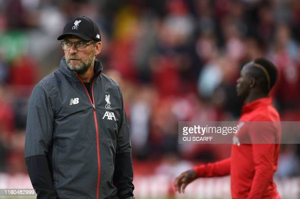 Liverpool's German manager Jurgen Klopp looks on before the English Premier League football match between Liverpool and Norwich City at Anfield in...