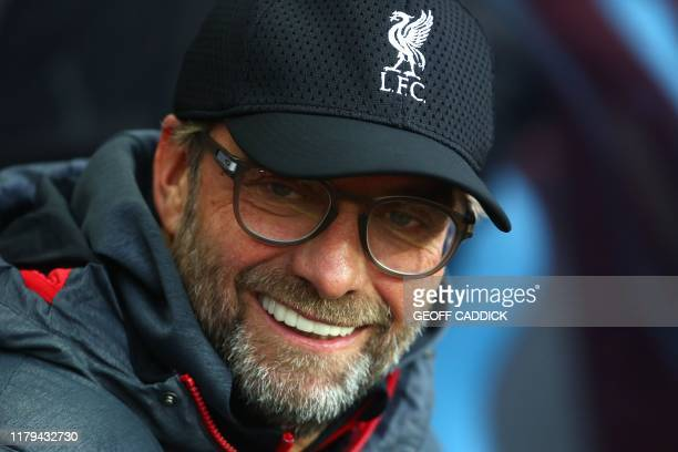 Liverpool's German manager Jurgen Klopp looks on during the English Premier League football match between Aston Villa and Liverpool at Villa Park in...