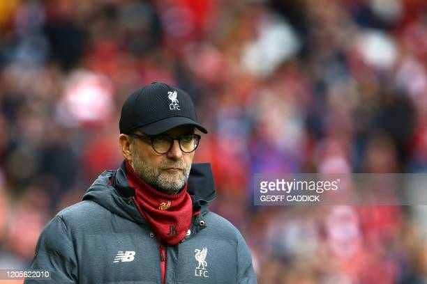 Liverpool's German manager Jurgen Klopp looks on during the English Premier League football match between Liverpool and Bournemouth at Anfield in...