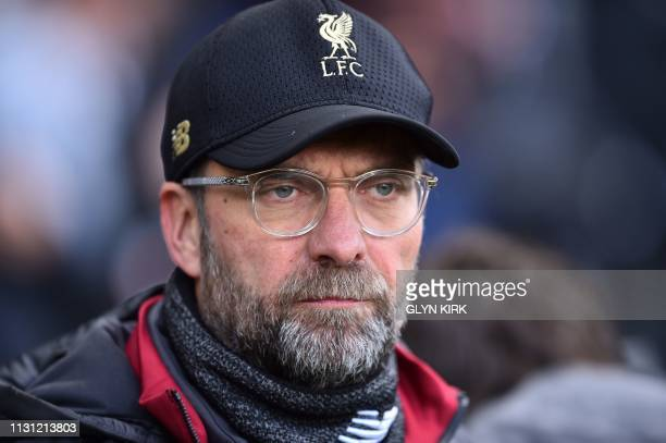 Liverpool's German manager Jurgen Klopp looks on prior to the English Premier League football match between Fulham and Liverpool at Craven Cottage in...