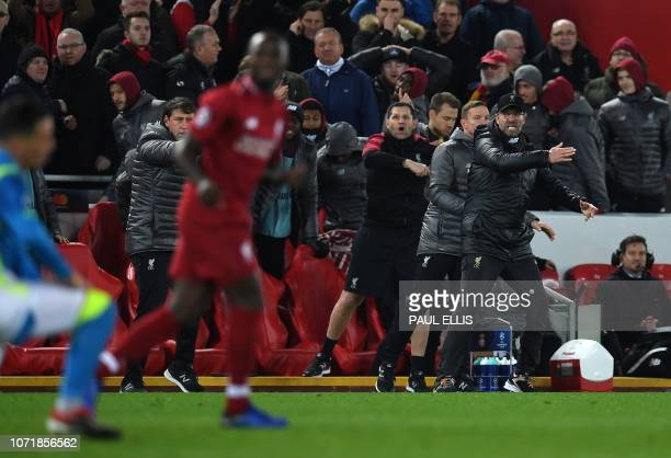 Liverpool's German manager Jurgen Klopp reacts after Liverpool's Senegalese striker Sadio Mane failed to score during the UEFA Champions League group...