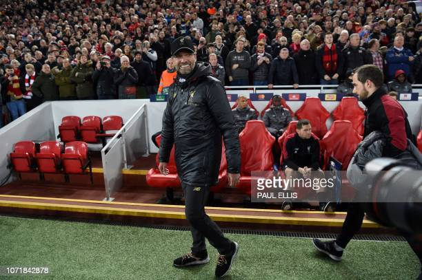 Liverpool's German manager Jurgen Klopp reacts ahead of the UEFA Champions League group C football match between Liverpool and Napoli at Anfield...