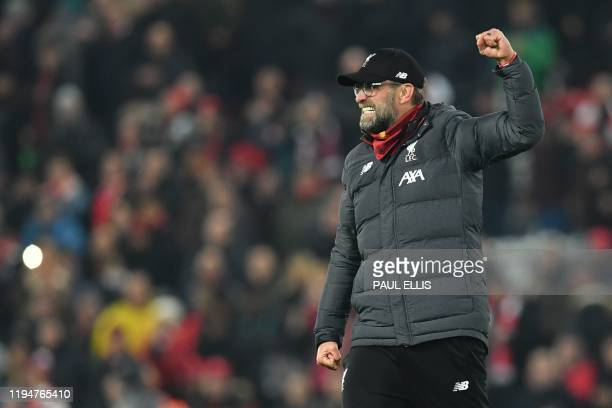 Liverpool's German manager Jurgen Klopp reacts at the end of the English Premier League football match between Liverpool and Manchester United at...