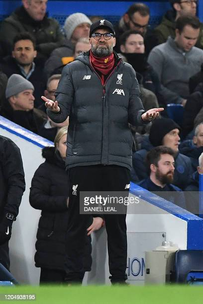 Liverpool's German manager Jurgen Klopp reacts during the English FA Cup fifth round football match between Chelsea and Liverpool at Stamford Bridge...