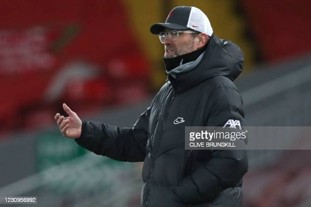 Liverpool's German manager Jurgen Klopp reacts during the English Premier League football match between Liverpool and Brighton and Hove Albion at...