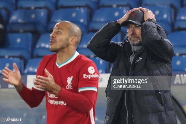 Liverpool's German manager Jurgen Klopp reacts during the English Premier League football match between Leeds United and Liverpool at Elland Road in...