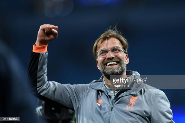 TOPSHOT Liverpool's German manager Jurgen Klopp reacts following the UEFA Champions League second leg quarterfinal football match between Manchester...