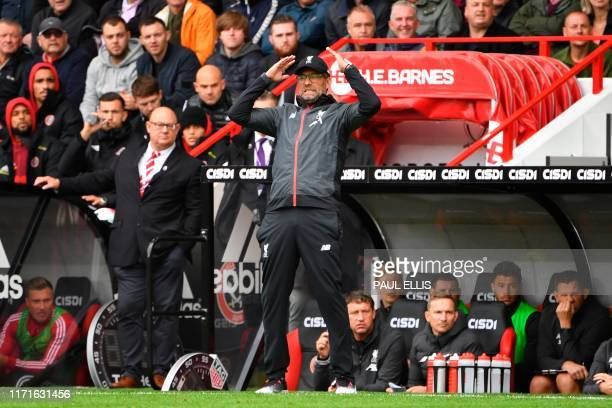 Liverpool's German manager Jurgen Klopp reacts on the touchline during the English Premier League football match between Sheffield United and...