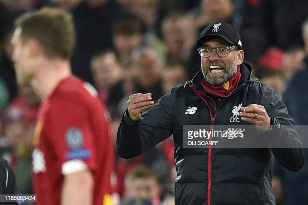 Liverpool's German manager Jurgen Klopp shouts instructions to his players from the touchline during the UEFA Champions league Group E football match...