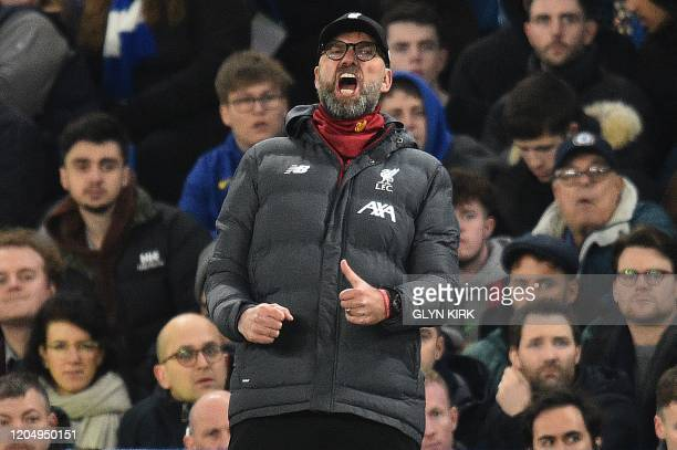 Liverpool's German manager Jurgen Klopp shouts instructions to his players from the touchline during the English FA Cup fifth round football match...