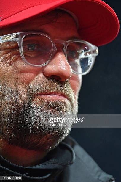 Liverpool's German manager Jurgen Klopp speaks during a television interview after the English Premier League football match between Liverpool and...