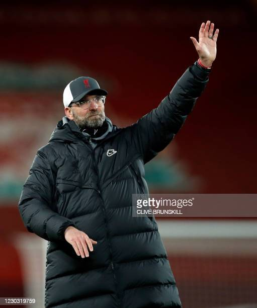 Liverpool's German manager Jurgen Klopp waves to the supporters after the English Premier League football match between Liverpool and West Bromwich...