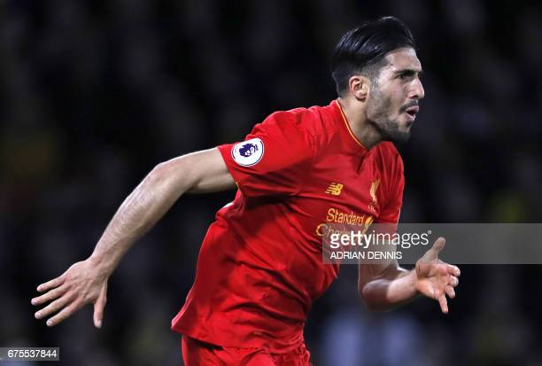 Liverpool's German midfielder Emre Can celebrates after scoring the opening goal of the English Premier League football match between Watford and...