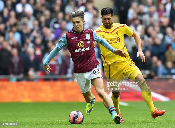 Liverpool's German midfielder Emre Can chases Aston Villa's English midfielder Jack Grealish during the FA Cup semifinal between Aston Villa and...