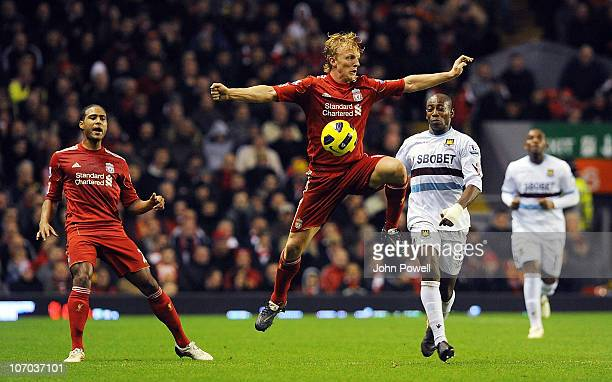 Liverpool's Glen Johnson and Dirk Kuyt and West Hams Luis Boa Morte during the Barclays Premier League match between Liverpool and West Ham United at...