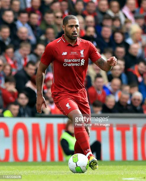 Liverpool's Glen Johnson during the Legends match at Anfield Stadium Liverpool