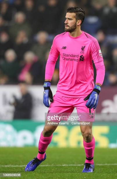 Liverpool's goalkeeper Alisson Becker during the Premier League match between Burnley FC and Liverpool FC at Turf Moor on December 5 2018 in Burnley...