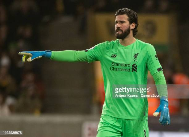 Liverpool's goalkeeper Alisson Becker during the Premier League match between Wolverhampton Wanderers and Liverpool FC at Molineux on January 23 2020...