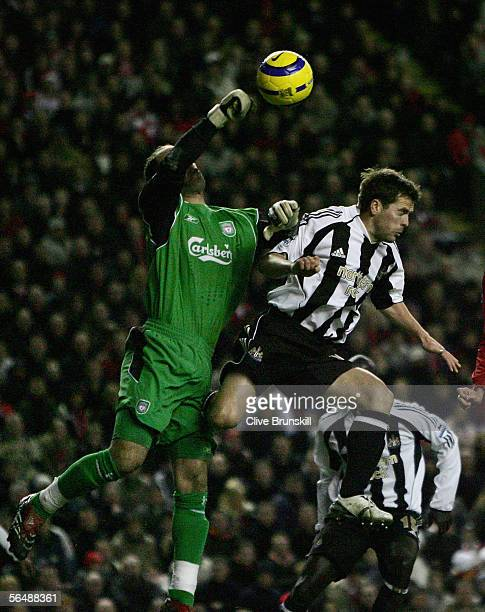 Liverpool's goalkeeper Pepe Reina fights for the ball with Michael Owen of Newcastle United during the Barclays Premiership match between Liverpool...