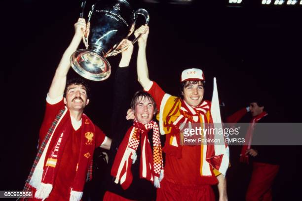 Liverpool's Graeme Souness Kenny Dalglish and Alan Hansen celebrate with the European Cup