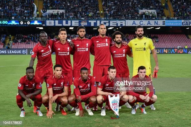 Liverpool's Guinean midfielder Naby Keita Liverpool's English defender Trent AlexanderArnold Liverpool's Dutch midfielder Georginio Wijnaldum...