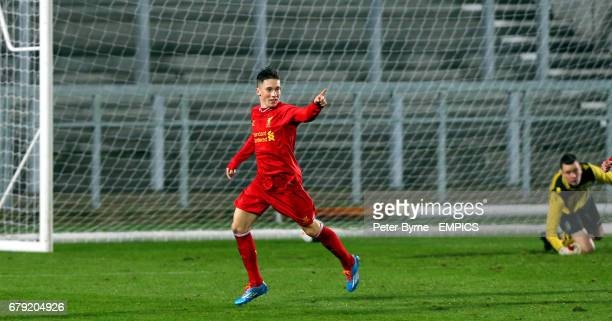 Liverpool's Harry Wilson celebrates his goal and Liverpool's second against Aston Villa in the FA Cup Youth game at Langtree Park St Helens