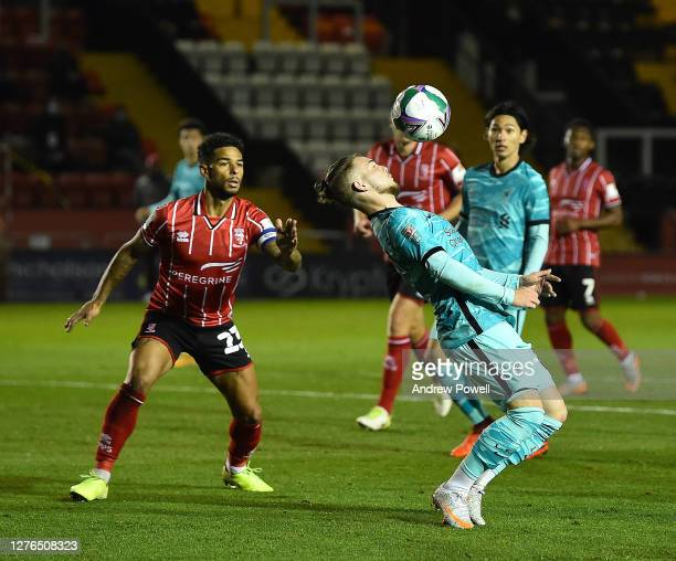 Liverpool's Harvey Elliott During the Carabao Cup third round match between Lincoln City and Liverpool at Sincil Bank Stadium on September 24 2020 in...