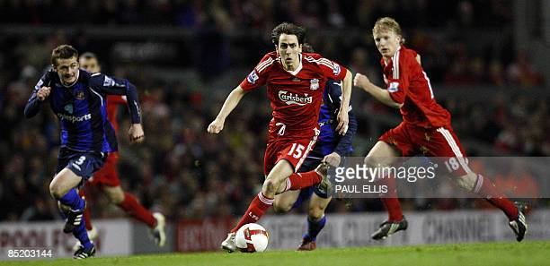 Liverpool's Israeli midfielder Yossi Benayoun pushes forward against Sunderland during their English Premier League football match at Anfield in...