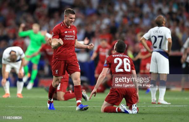 Liverpool's James Milner and Andrew Robertson celebrate at the final whistle during the UEFA Champions League Final at the Wanda Metropolitano Madrid